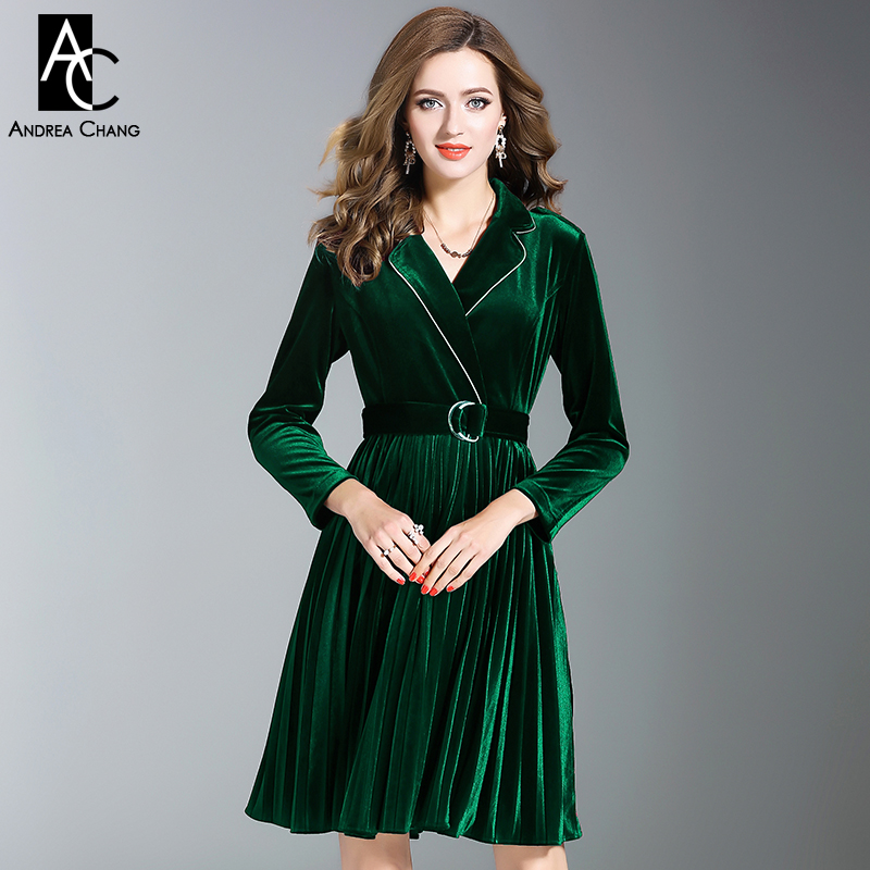 autumn winter woman dress white border notched collar blue green wine red velvet dress with belt vintage office pleated dress
