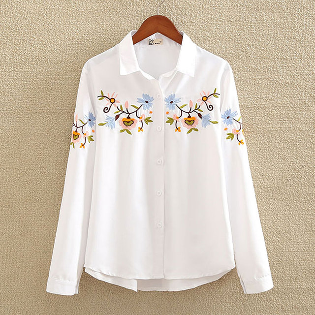 f488209f73 Nvyou gou 2018 Floral bordado blusa camisa las mujeres Slim blanco Tops  blusas camisas de manga