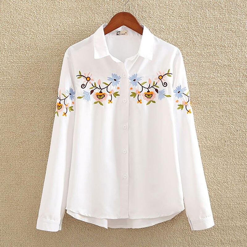 Nvyou gou 2019 chemisier brodé Floral chemise femmes Slim hauts blancs Blouses à manches longues femme bureau chemises de grande taille