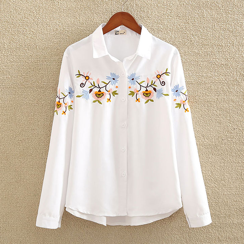 a27601d5d2b nvyou gou 2018 Floral Embroidered Blouse Shirt Women Slim White Tops Long  Sleeve Blouses Woman Office