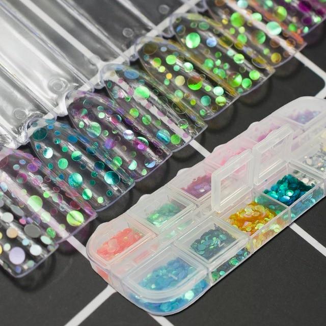 12 color sirena efecto colorido Lentejuelas Clavos Art semi redonda ...