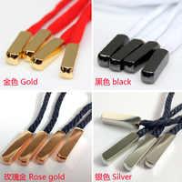 4 piezas de alta calidad nueva cabeza de Metal cordones dorados/plateados consejos para zapatillas de baloncesto cuadradas accesorios de cordones de zapatos
