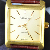 Mens Elegant Brown Brass Case Mechanical Watch Men Square Antique Watches Free Shipping
