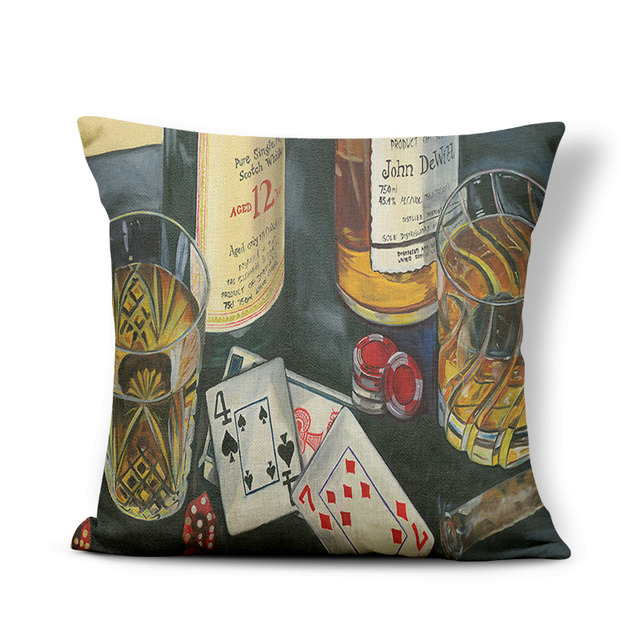Retro Poster Cushion Cover Watercolor Bar Cold Beer Man Cave Pillow Case Cover Decor Home Throw Pillow Large Linen Blend Funny 4