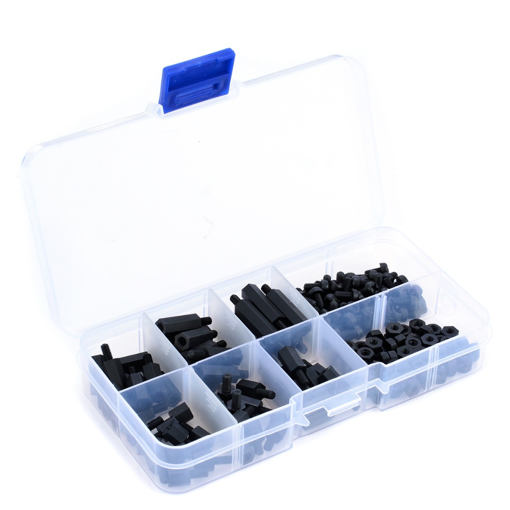 180pcs Black M3 Nylon Hex Spacers Male-Female Screws Nuts Stand-off Kit With Plastic Box For Electronics PC Board Mayitr