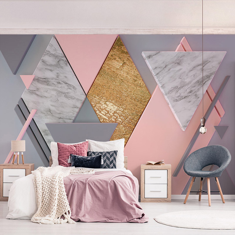 Modern Creative Pink Diamond Geometry Photo Murals Wallpaper Living Room Bedroom Romantic Art Wall Cloth Papel De Parede 3D Sala