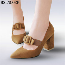 Plus Size 34-46 Elegant Women High Heels Shoes Dress Party Wedding Pumps Mary Jane Pointy Toe Buckle Bow Square heel Lady