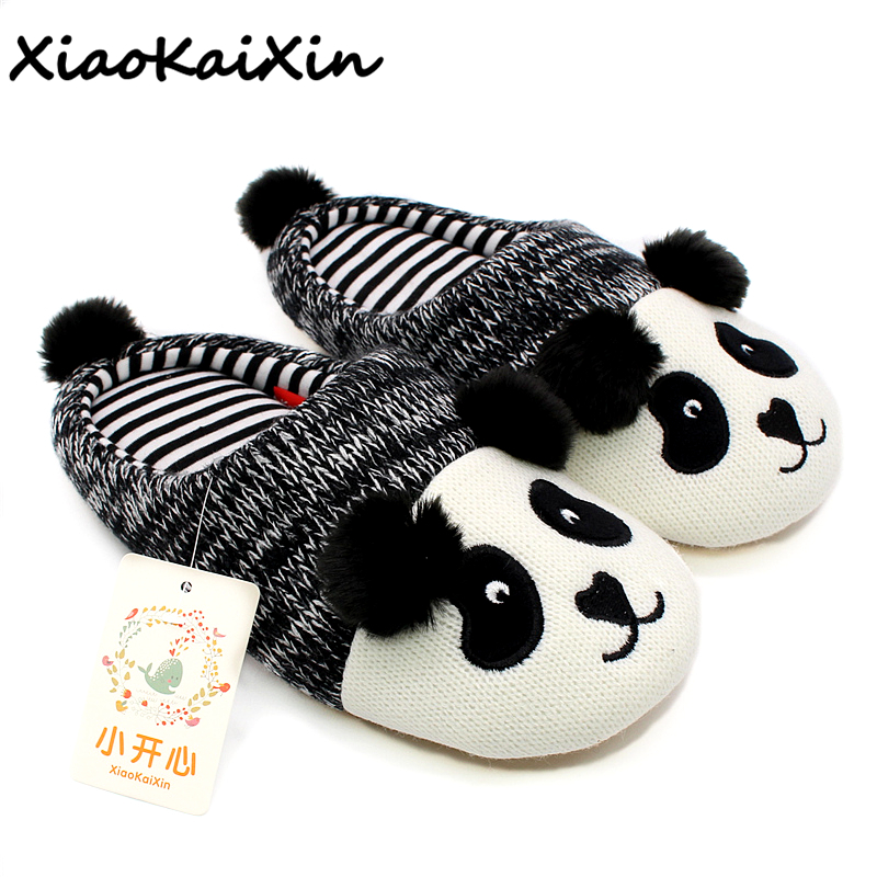 цена на XiaoKaiXin Winter Warm Lovely Animal Panda Slippers Home for Men&Women&Children Knitted Cotton Rubber Indoor NonSlip House Shoes