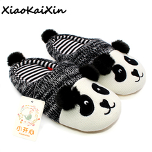 XiaoKaiXin Winter Warm Lovely Animal Panda Slippers Home for Men&Women&Children Knitted Cotton Rubber Indoor NonSlip House Shoes