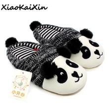 XiaoKaiXin zimowe ciepłe urocze zwierzę Panda kapcie domu dla mężczyzn i kobiet i dzieci dzianina bawełniana guma kryty antypoślizgowe kapcie