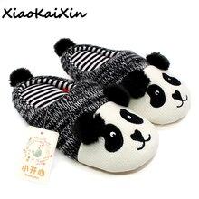 Xiaokaixin inverno quente adorável animal panda chinelos casa para homem e mulher & crianças de malha algodão borracha interior antiderrapante casa sapatos