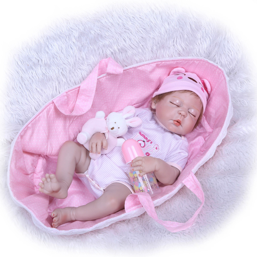 Nicery 22inch 55cm Bebe Reborn Doll Hard Silicone Boy Girl Toy Reborn Baby Doll Gift for Children Pink Sleeping Basket Baby Toll nicery 18inch 45cm reborn baby doll magnetic mouth soft silicone lifelike girl toy gift for children christmas pink hat close