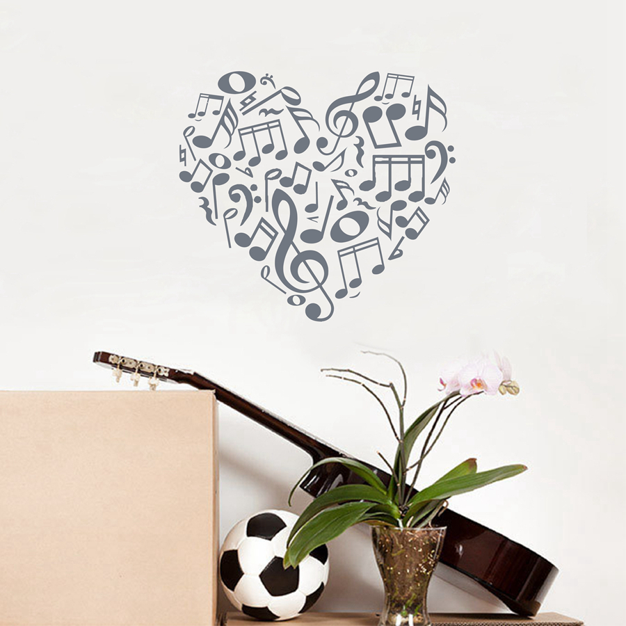 Beautiful heart music notes vinyl wall decals creative design beautiful heart music notes vinyl wall decals creative design music notes wall stickers for home living roommusic studio decor in wall stickers from home amipublicfo Gallery