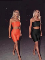 2 Colors Ladies HL Bandage Playsuits Sexy 2 Pieces Bodycon Women's Set Strapless Tops and Pants Club Night Playsuits