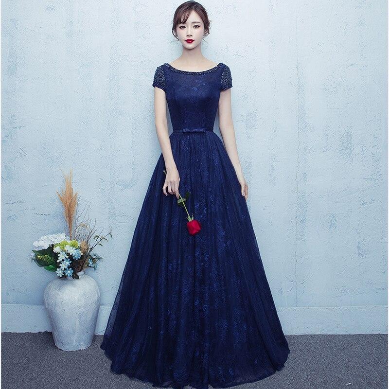 Beading Sequined   Evening     Dress   Navy Blue Embroidery Lace   Evening     Dress   Tulle   Evening   Gown 2018 Long Prom   Dress   Robe De Soiree