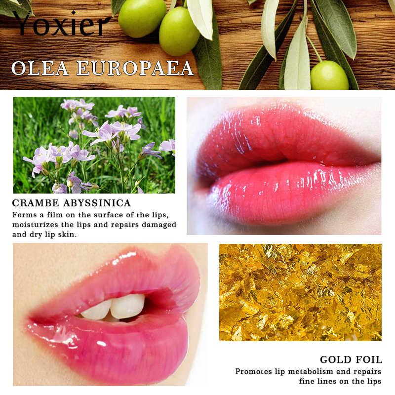 24K Gouden Olijfolie Lippenbalsem Hydraterende Natuurlijke Kleurloos Verfijnen Reparatie Rimpels Make Lippenstift Behandeling Nieuwe Merk 1Pcs