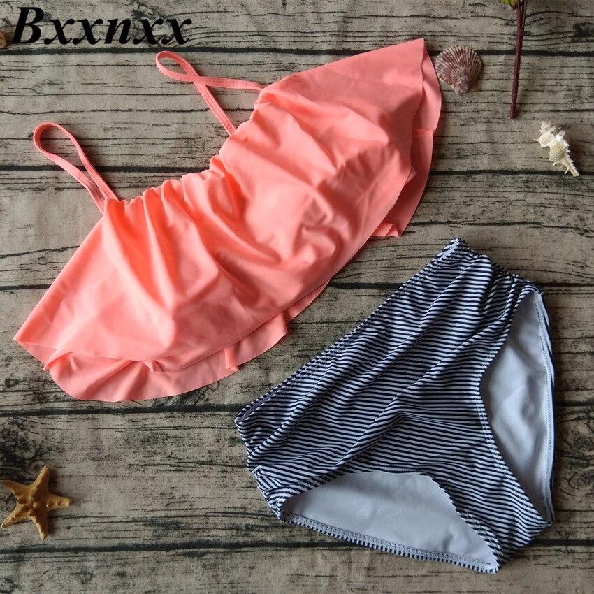 706dc8a708 Bxxnxx High Waist Swimwear Women New 2017 Ruffle Vintage Bikinis Swimsuit  Bandage Striped Bottom Bathing Suits