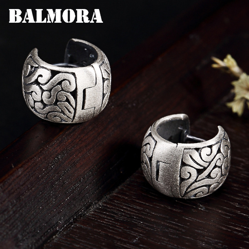 BALMORA Real 990 Pure Silver Hollow Clouds Ethnic Stud Earrings for Women Mother Gift Vintage Elegant Fashion Jewelry BrincosStud Earrings   -