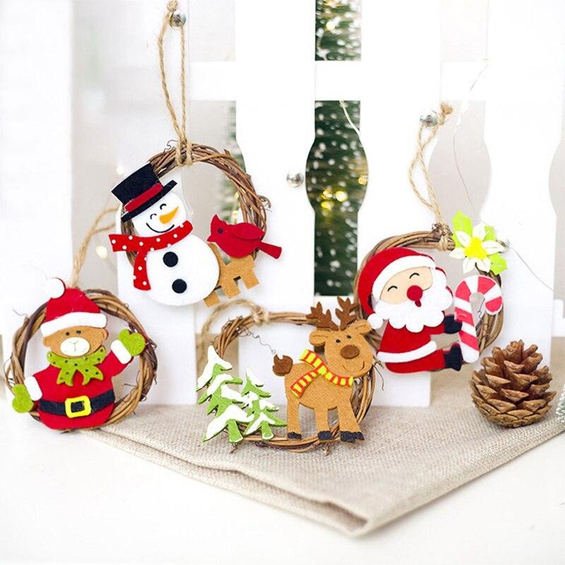 Christmas Tree Santa Claus Snowman Hanging Ornament ...
