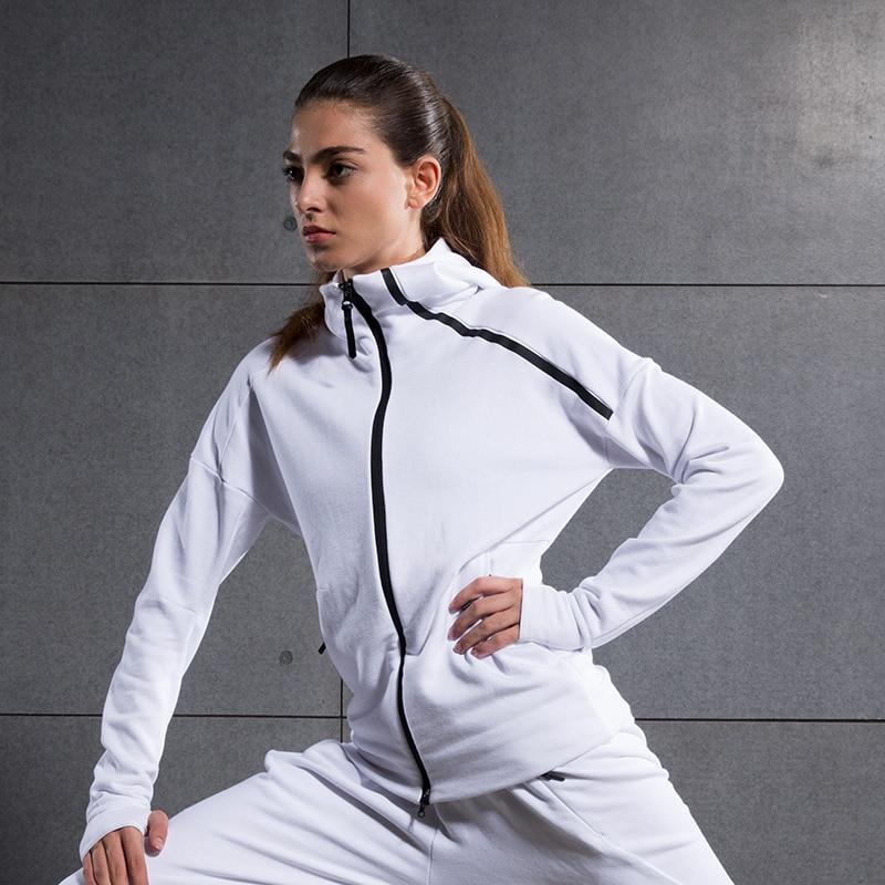 Chaqueta de las mujeres Ropa de Fitness Moda Casual de Manga Larga 100% Algodón