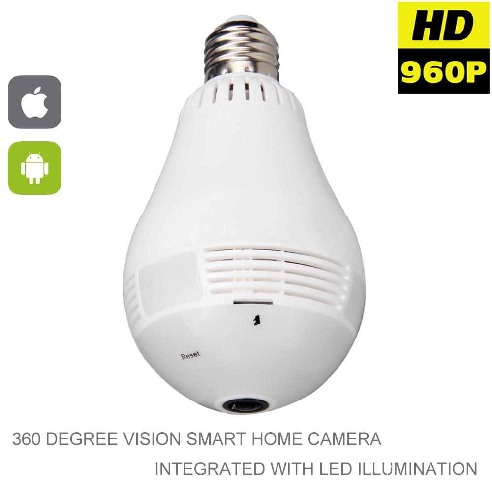 все цены на 960P Wifi Panoramic 360 degree Camera Wireless IP Light bulb Mini Camera 1.3MP 3D VR Security Bulb WIFI Camera Two Way Audio P2P онлайн