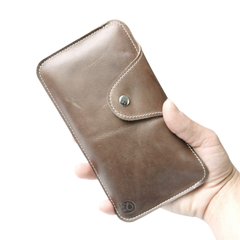 Simple Vintage Men's Wallets Genuine Leather Long Wallet and Purse Mobile Phone Bags Women Thin Oil Wax Leather Pouch