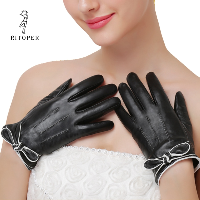 RITOPER Women's Sheepskin Gloves Touch Screen Genuine Leather Gloves Bow Warm Warm And Velvet Thickening Fashion Real Leather