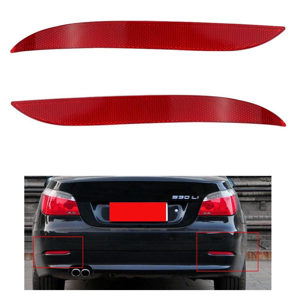 Left Rear Bumper Reflector Light for BMW 2003-2007 5-Series E60 E61-Red Lens