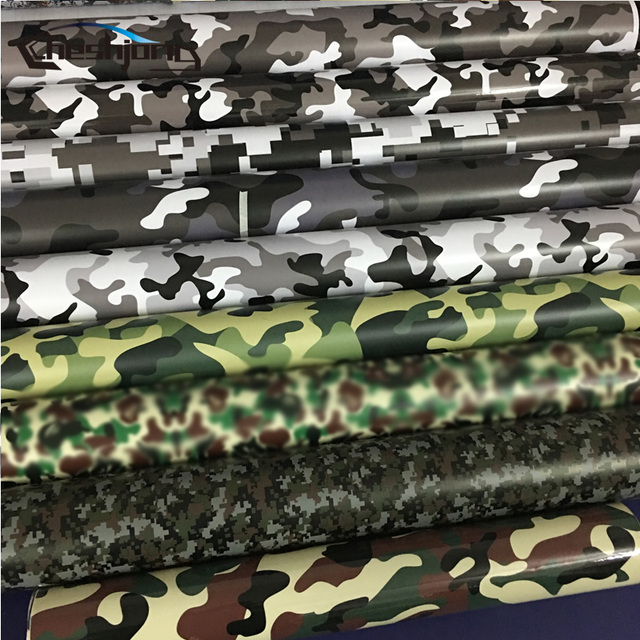 15 kinds premium camo vinyl car wrap black white blue red green camouflage film sticker for