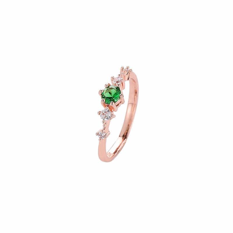 แผ่นแหวนเงิน Vintage สีเขียว/ขาว/สีชมพูแหวนทองแดงแฟชั่นคริสตัล Cz Rose Gold สีแหวน