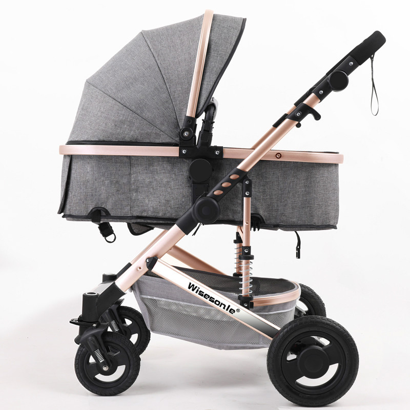 Luxury Baby Stroller 2 in 1 High-Landscape Pram Portable Folding baby Carriage Cheaper Baby Stroller Natural Rubber Four Wheel portable baby stroller 3 in 1 high landscape aluminum luxury folding european baby carriage 2 in 1 pram for newborn four seasons