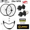 29er MTB Углеродные колеса 36*24 мм бескамерные готовые XC/AM горный велосипед колесная установка тайвань оригинальный Powerway M42 прямой Тяговый конце...