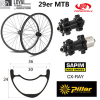 29er mtb roda de carbono 36*24mm tubeless pronto xc/am mountain bike wheelset taiwan original powerway m42 em linha reta puxar hub