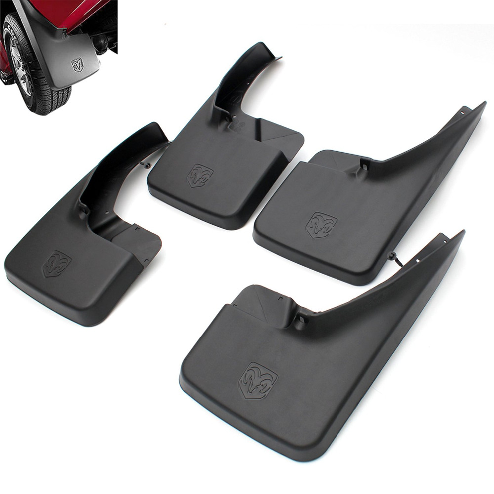 Moonet  Mud Flaps for Ram Truck  Molded Splash Guards Mud Flaps fit for Dodge Ram 1500/2500/3500 Front&Rear 4pcs  QD283 car styling 4pc mud flaps splash guards front rear mudguards fit for 06 15 hummer h3 suv offroad paralama mo mo pai