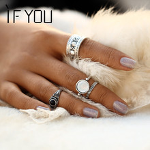 4pcs/Set Vintage New Punk Brinco Ring Set Hollow Antique Silver Color Lucky Midi Rings for Women 2017 Boho Jewelry Knuckle bague