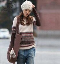 LOVELYDONKEYFree доставка Новый подлинной кашемировый свитер женщин чистый кашемир Пуловеры кашемировый свитер настроены большой размер M88