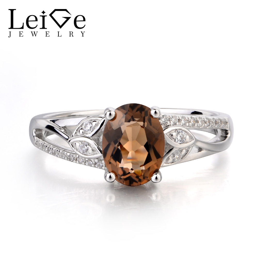 Leige Jewelry Natural Smoky Quartz Ring Promise Ring Oval Cut Brown Gemstone Real 925 Sterling Silver Romantic Gifts for Women leige jewelry promise ring natural pink quartz ring oval cut pink gemstone 925 sterling silver ring romantic ring for women