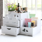 Large Cute Cat Wooden Cosmetic Storage Box Desktop Drawer Remote Control Box For Girl Gift