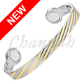 Channah 2017 Unisex Big Strong Magnets Copper Mangetic Power Nice Bangle 2-Tone Gold Silver Jewelry Stylish Free Shipping Charm
