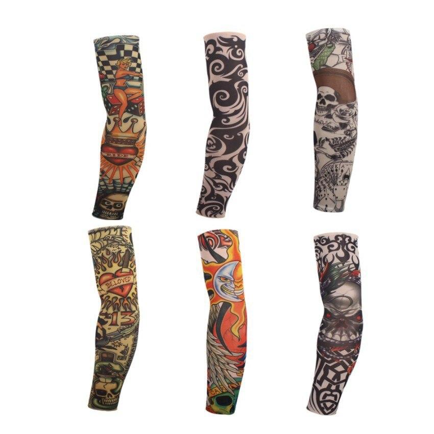 Эластичный татуировки рукавом 1 шт. для верховой езды УФ Уход нейлон Эластичный рычаг Чулки 24 цветов на выбор открытый поддельные временные татуировки рукава