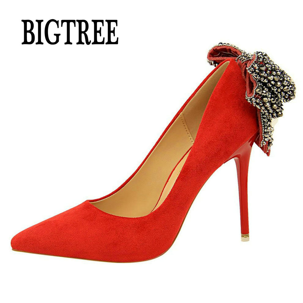 BIGTREE New Women Pointed Toe Thin High Heels Shoes Woman Pumps Ladies Fashion Wedding Party Crystal Butterfly-knot Flock Shoes bowknot pointed toe women pumps flock leather woman thin high heels wedding shoes 2017 new fashion shoes plus size 41 42
