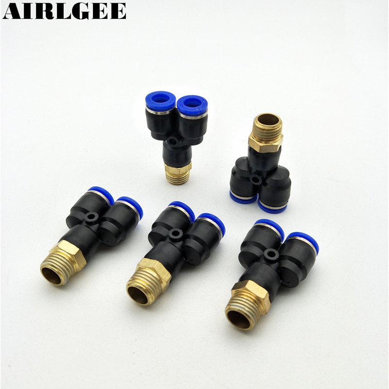 5 Pcs 1/4 PT Thread to 8mm Tube Push In One Touch Y Shaped Release Quick Fittings pneumatic 1 4 pt thread tube 8mm t joint one touch quick fittings