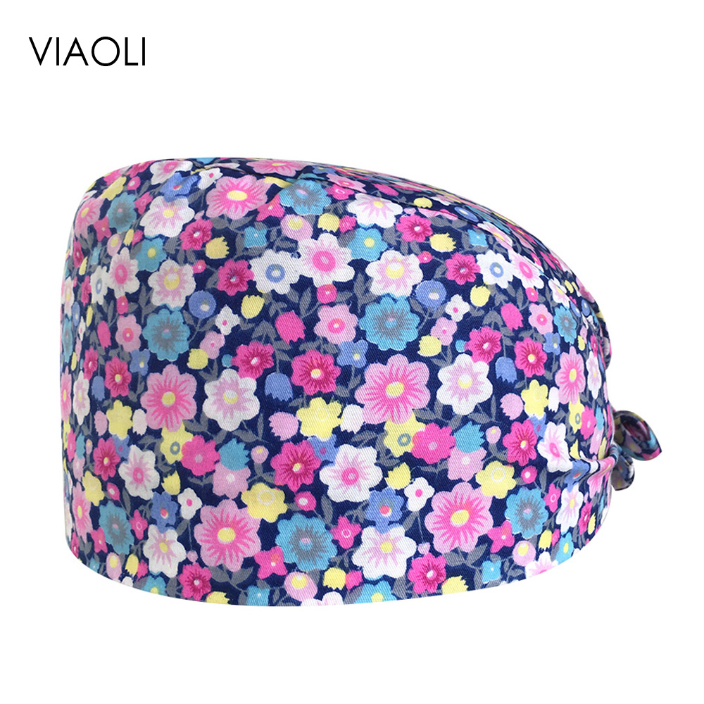 Printed Surgical Caps For Men And Women Cotton Breathable Doctor Nurse Medical Work Cap Operat Room Dental Beauty Salon Care Cap
