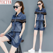 Jeans Denim Suits 2019 Summer Two Piece Outfits Women Co-ord Set Button Short Pants and Top Plus Size Big Blue Striped Clothing