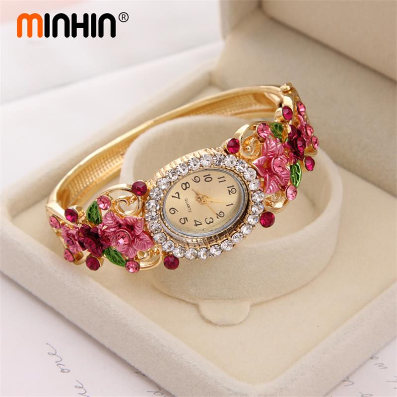 MINHIN Brand Luxury Bangle Watch Ladies Crystal Flower Bracelet Women Lovely Gift Dress Quartz Watch Gold Plated Wristwatch