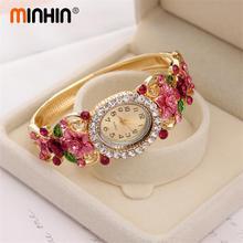 MINHIN Brand Luxury Bangle Watch Ladies Crystal Flower Bracelet Women