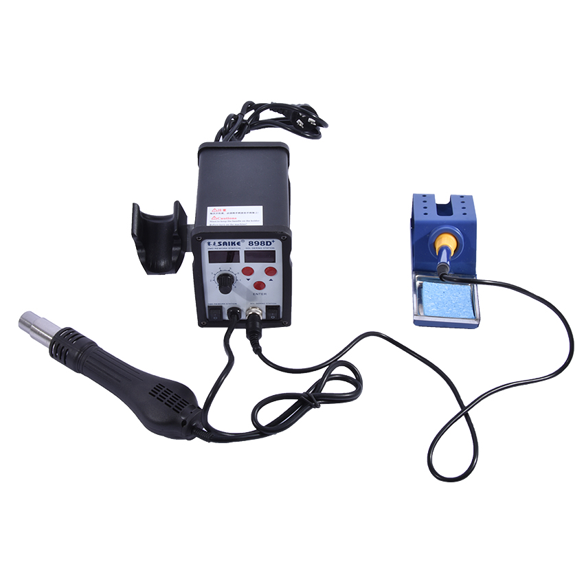 YIHUA 898D+ 2in1 SMD Rework Soldering Station Solder Iron with Heat Hot air Gun ESD Tips BGA Hot Air Nozzles dhl free shipping hot sale 220v hakko fx 888 fx888 888 solder soldering iron station with 10 free tips 900m t