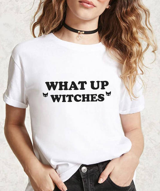 0ddead76 What Up Witches Halloween Party t-shirt women fashion funny slogan grunge  tumblr tees cotton Witch Clothing tops art goth tshirt