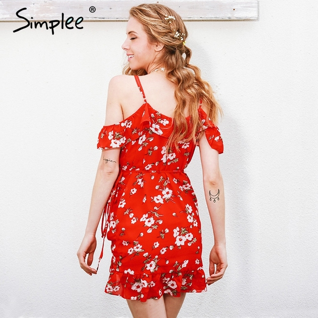 Simplee Cold shoulder ruffle print summer dress women High waist strap chiffon beach dress Boho party sexy dresses