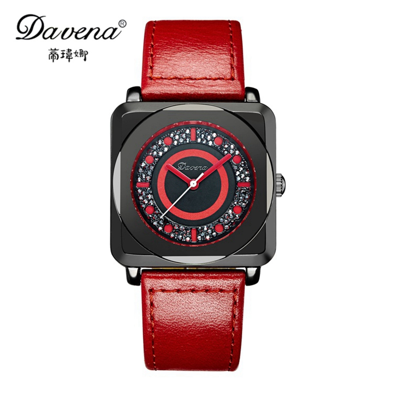 2016 New style wristwatch women dress rhinestone watches fashion casual quartz watch Top brand Davena 31063 High quality clock luxury top brand guanqin watches fashion women rhinestone vintage wristwatch lady leather quartz watch female dress clock hours